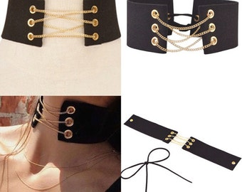 Tie Up Choker, Lace Up Chain Choker, Chain Wide Choker, Kim Kardashian Choker, Wide Black Choker, Wide Choker, Black Choker, Velvet Choker