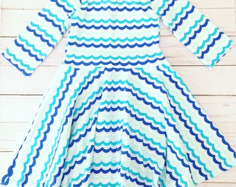 Size 9-12 Months Long Sleeve Waves Girls Twirl Dress, Ready to Ship