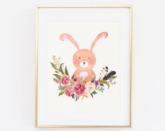 PRINTABLE wall art, Printable woodland decor, Cute Bunny, baby nursery quote decor, Bunny decoration, Nursery Decoration Floral Pink