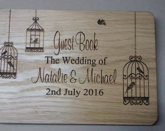 Wooden Guestbook.  Personalised with your names and date of wedding with 50 pages inside