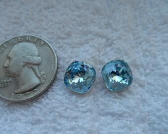 4 vintage Swarovski crystals, aquamarine, cushion cut, 10mm, art 4470, gold foiled
