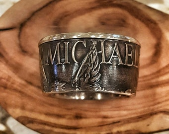 RCR Original Saint Michael Law Enforcement Ring - Engraveable Bronze Coin Ring - Hand Forged