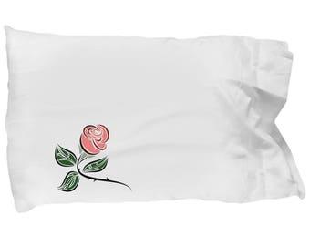 Pink Rose Pillowcase, Pretty Spring Bedding, Teen Pillowcase, College Dorm Pillowcase