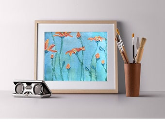"""Acrylic on canvas, original painting, available with frame options, """"Petal Story"""" (9""""x7"""")"""