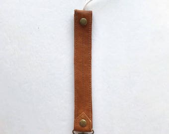 Leather Pacifier Clip - Pacifier Clip Boy - Genuine Leather Clip - Binkie Clip - Paci Clip - Soother Clip - Paci - Toy Holder - Toy Leash