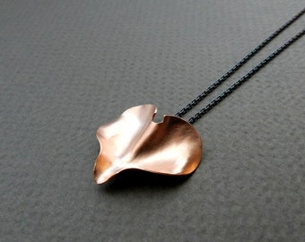 "Copper Heart Necklace, Flower Petal Pendant, Dark Sterling Silver Chain 20"" Long Abstract Jewelry, Minimalist Modern, Graduation Gift"