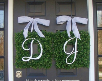 SPRING WREATH SALE Monogram Boxwood Wreath, Monogram Wedding Wreath, Spring Wreath,  Housewarming Gift, Wedding Wreath, Summer Wreaths Thin