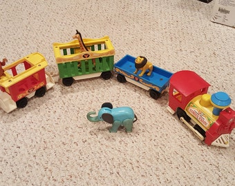 Vintage Fisher Price Circus Train #991 - Engine, Three Cars and Animals