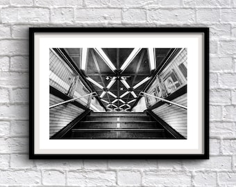 Fulton Street Subway - New York Photography, Black and White, Architecture, Wall Art, NYC, Fine Art Print, Urban Art, Home Decor
