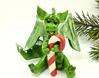 Dragon PORCELAIN Christmas Ornament Figurine Candy Cane OOAK