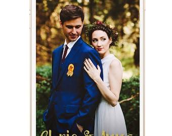 SNAPCHAT Geofilter Wedding Gold Glitter Filter, Custom Snapchat, Wedding Snapchat Geofilter, Wedding Snapchat Filter, Custom wedding filter