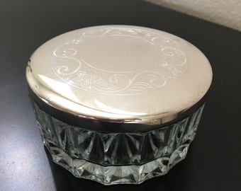 Vintage Vanity Jar with Silver Etched  Lid, Glass Vanity Jar with Silver Lid, Vintage Dresser Dish