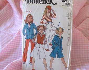 Vintage Butterick 5893 Girls Sewing Pattern for Girl, Blazer Jacket, Vest, Culottes & Pants, 1970s Girls Sewing Pattern DIY, Sizes 8, 12
