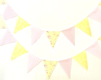 Shabby Chic Fabric Banner, Bunting, Pennant Flags, Pink, Yellow, Wedding Decor, Photo Prop, Baby Nursery Decor, Girl Birthday Party Garland