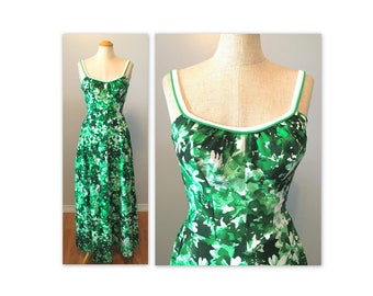 Vintage 60s Deweese Abstract Floral Dress XS Long Backless Sun Dress