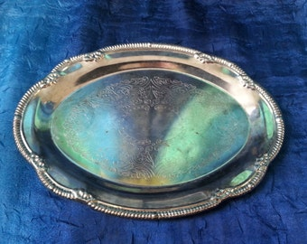 Vintage metal tray with beautiful pattern