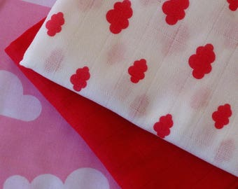 """Swaddle blanket printed white """"clouds"""" fuschia chiffon with cotton"""