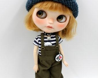 Girlish - Olive Bib Pants Set for Blythe doll - dress / outfit