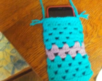 Purple and blue phone pouch