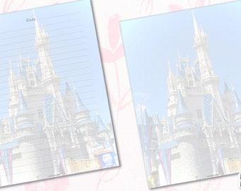 "Disney Castle Letter Stationery Paper | Castle Paper | Printable | Letter Paper | Writing Paper | Journal | Scrapbooking | 8.5"" x 11"""