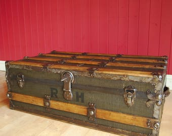 VINTAGE STEAMER TRUNK Coffee Table Storage Chest Old Travel Trunk Reclaimed Rustic Antique Edwardian Luggage