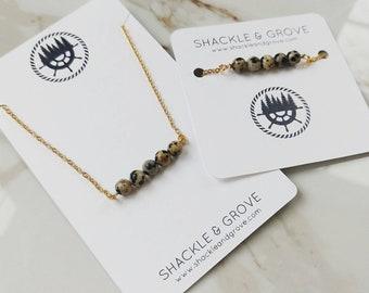 Dalmaition Jasper Dainty Necklace and Bracelet // Beaded Bar Necklace // Bar Bracelet // Jewelry Set