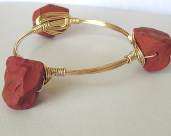 "Natural Red Jasper Rough Nugget Bangle Bracelet ""Bourbon and Bowties"" Inspired"