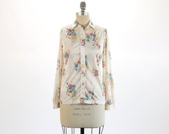 Rare Vintage 1970's Pixelated Floral Polyester Blouse Shirt // Size Small, 32 // Bohemian, Hippie, Hipster, Indie, Colorful / White