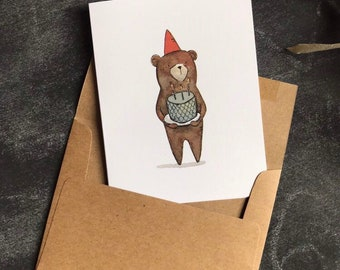 Birthday Card Bear - Greeting Card - Note Card - Woodland Birthday - Watercolor Card - Whimsical Card