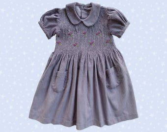 Dress child embroidery smocked purple corduroy