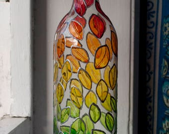 Autumn Leaves Hand Painted Glass Wine Bottle