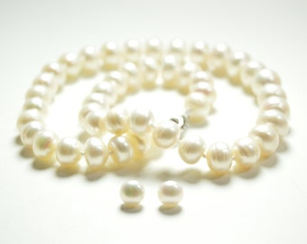Valentine's Day Sale - White Pearl Necklace- Pearl Necklace - 18.5 inches 11-13mm White Freshwater Pearl Necklace - Free Matching Earring