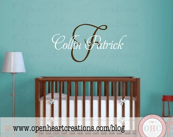 Custom Initial and Name First and Middle Vinyl Wall Decal for Baby Nursery Child Teen Girl Boy IN0014