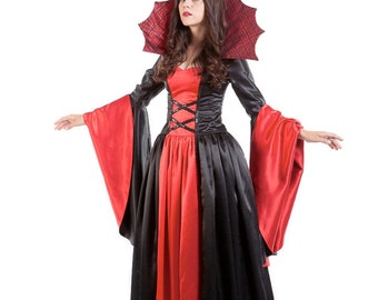 """Women's Costume - """"Vampiress"""" - Size 0 - A fatally charming red and black satin vampire dress for Halloween, Mardi Gras or any costume party"""