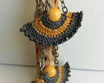 Crochet earrings - Lace Earrings - Crochet Beaded Earrings - Long dangle earrings - Girlfriend gift - Modern earrings - Grey and Mustard