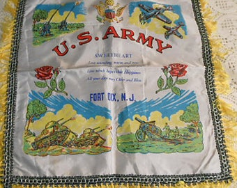 "Satin U S ARMY Ft Dix N J Pillow Cover Sweetheart Poem WWII Vintage Keepsake Guns Fighter Planes Tanks Blue Gold Fringe Roses Eagle 18"" sq"