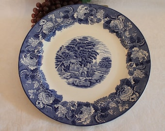 "Circa 1917 Enoch Woods 12"" Charger or Chop Plate - Blue Transferware, English Scenery, Wood & Sons England"