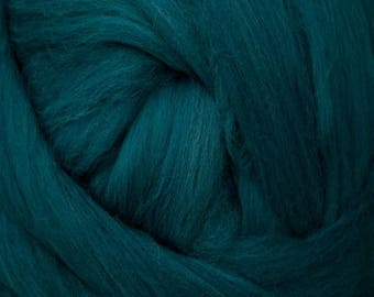 Teal solid Merino Wool Combed Top for spinning- 8 ounces