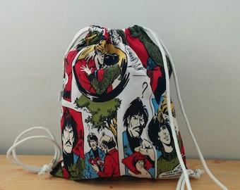 String backpack,comic backpack,city print fabric,comic fabric,fabric backpack,draw string backpack,draw string bag,comic print fabric