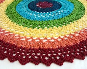 rainbow baby blanket - lacy rainbow baby blanket - round baby blanket - crochet baby blanket - handmade by RockinLola
