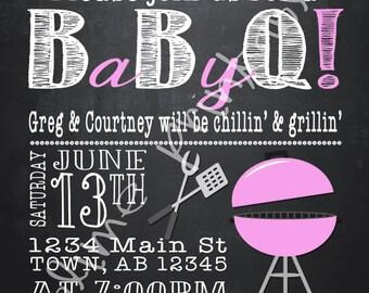 Baby BBQ Shower Invitation 5x7 Printable File