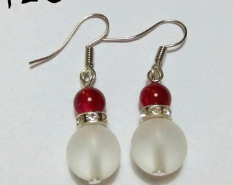 Clear Red and Silver Diamond Accent Earrings