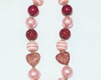 Valentines heart chunky necklace