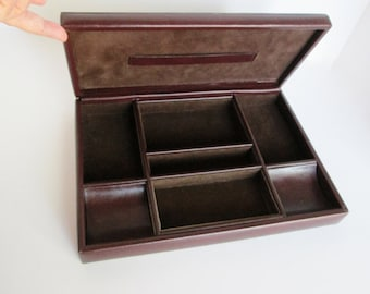 A Faux Leather Valet, dresser organizer, desk coin holder, office home decor vintage man cell phone jewelry hall vestibule tray storage gift