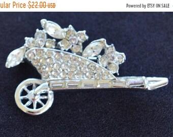 On sale Rhinestone Floral Wheelbarrow Brooch, Silver tone, Vintage (AF17)
