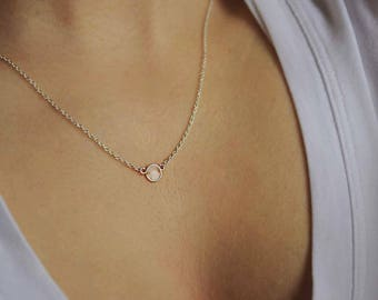 Clear Circle Charm Necklace - Solid Sterling Silver with Water-Like Effect - Small Simple and Minimalistic Circle Pendant Necklace