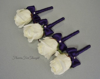 White Rosebud Boutonniere, Groomsmen Wedding Flower, Plum Ribbon, 1 Lapel Pin