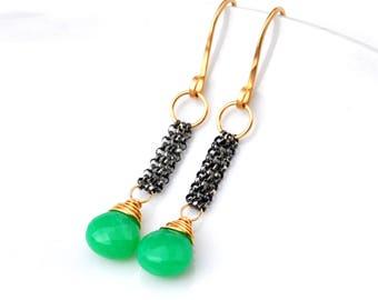 Petite Chrysoprase Earrings, Dainty Mixed Metal Australian Chyrsoprase Dangle Earrings, Modern Mint Green Gemstone Dangles, Gift For Her
