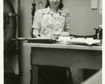 "Vintage Photo ""Working Late Hours"" Snapshot Antique Black & White Photograph Paper Found Ephemera Vernacular Interior Design Mood - 40"