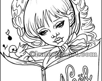 Christmas Carolers INSTANT DOWNLOAD Digi Stamp Coloring Page fantasy art By Katerina Art